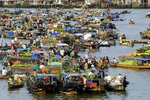 Panoramic view of Cai Rang floating market